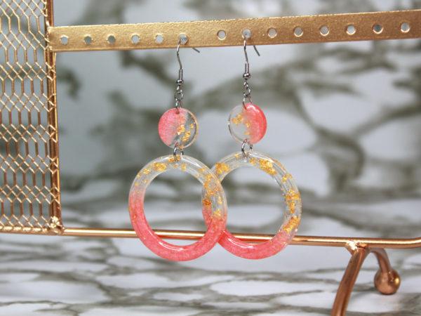 Boucles d'oreilles anneaux rose