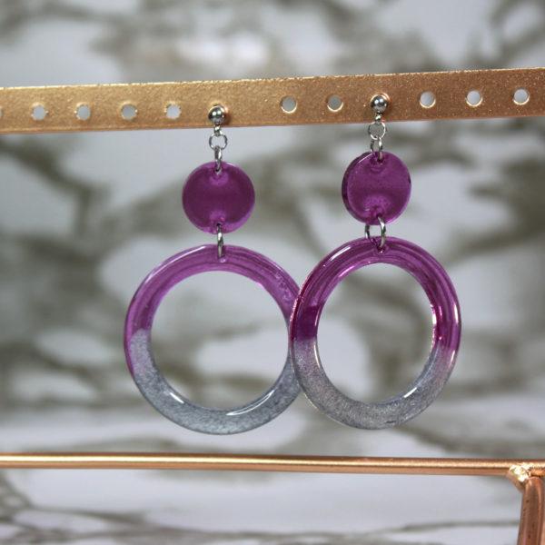 Boucles d'oreilles anneaux violet